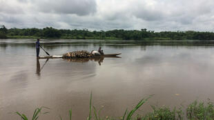 Dugout canoe on the Congo River