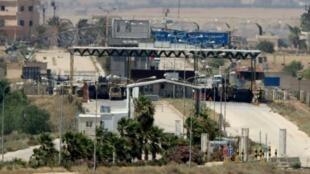معبر جابر نصيب الحدودي بين جنوب سوريا والأردن، في لقطة من الجانب الاردني في 7 تموز/يوليو 2018