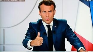 Emmanuel Macron from the Elysée Palace during a televised interview on TF1, in Paris on July 21, 2020.