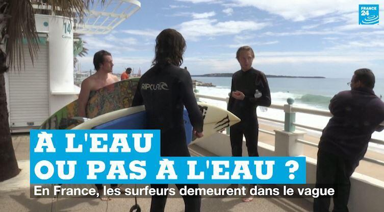 De jeunes surfeurs à Cannes, le 11 mai, premier jour du déconfinement.