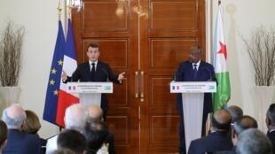 مؤتمر صحفي للرئيسين الفرنسي إيمانويل ماكرون والجيبوتي إسماعيل عمر غيلله- 12 مارس/آذار 2019