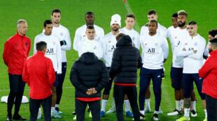 L'équipe du PSG à l'entraînement avant la rencontre contre Bruges, le 21 octobre 2019.