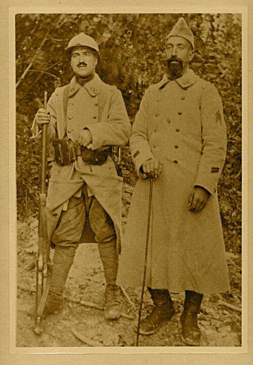 Louis Duroure, à gauche, avec un camarade de régiment lors de la Première Guerre mondiale