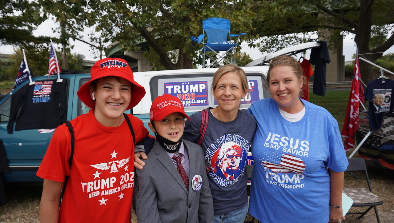 Erica Cappabianco and Karen Richard attended the rally with their sons.