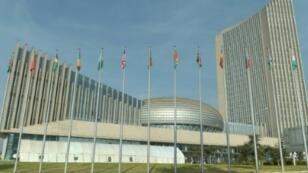 صورة ملتقطة بتاريخ 28 ك2/يناير 2018 تظهر مقر الاتحاد الأفريقي في أديس أبابا خلال قمة الاتحاد الأفريقي السنوية الـ30