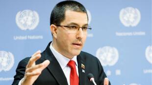 El canciller de Venezuela, Jorge Arreaza, en la sede de las Naciones Unidas, en Nueva York. 25 de abril de 2019.