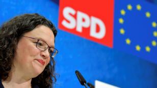 Andrea Nahles, cheffe démissionnaire du Parti social-démocrate(SPD), lors d'une conférence de presse le 27mai2019 à Berlin, au lendemain des européennes.