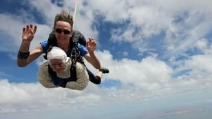 Irene O'Shea completed her first skydive to mark her 100th birthday in 2016