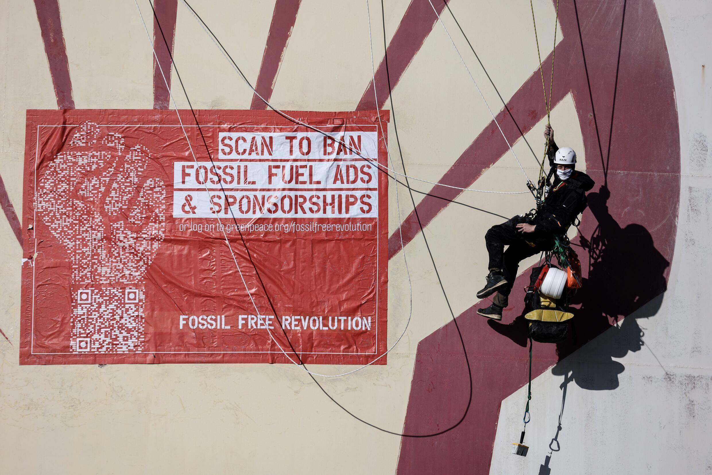 Greenpeace and 20 other groups have launched petition calling on EU to ban advertising and sponsorship by fossil fuel companies