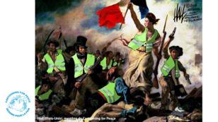 """""""La Liberté guidant le Peuple"""", devient """"Les Gilets jaunes guidant le Peuple"""", sous le crayon de l'Américain Hall."""