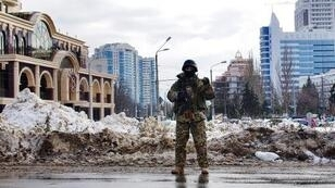 Ukrainian special troops stand guard in the southern city of Odessa in January.