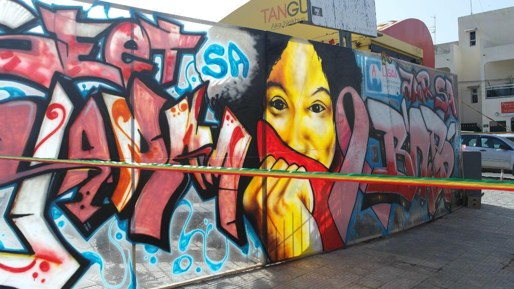 Fresque réalisée à Dakar pour Tout en rose.
