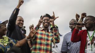 Le nouveau président zambien Edgar Lungu, le 19 janvier 2015, lors de son dernier meeting de campagne.