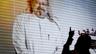 A digital image of Jamal Khashoggi was the backdrop at an event organized by his supporters on November 11, 2018, in Istanbul.