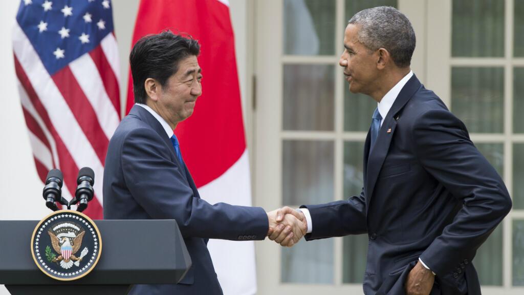 Le président américain Barack Obama et le Premier ministre japonais Shinzo Abe à Washington, le 28 avril 2015.