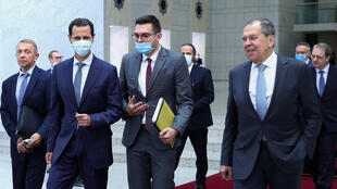 Syrian President Bashar al-Assad met with Russia's Deputy Prime Minister Yuri Borisov and Foreign Minister Sergei Lavrov in Damascus