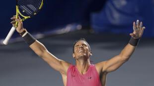 El español Rafael Nadal Rafael Nadal celebra después de ganar el partido final del Abierto de Tenis ATP de México contra el estadounidense Taylor Fritz  en Acapulco, estado de Guerrero, el 29 de febrero de 2020.