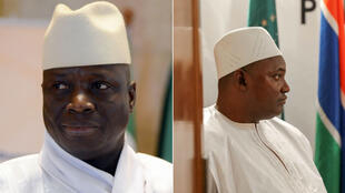 L'autocrate gambien déchu Yahya Jammeh et le nouveau président Adama Barrow.