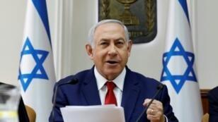 رئيس الوزراء الإسرائيلي بنيامين نتانياهو في اجتماع لمجلس الوزراء في 6 يناير/كانون الثاني 2019