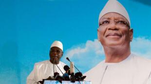 Le président sortant, Ibrahim Boubacar Keïta, lors d'un meeting à Bamako le 3 août 2018.