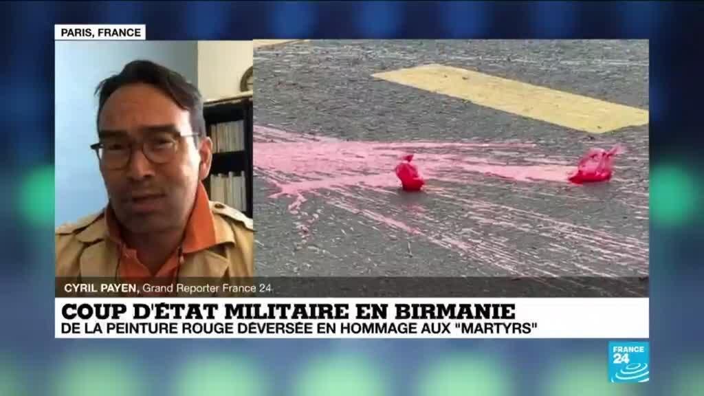 """2021-04-07 14:50 Coup d'État militaire en Birmanie : de la peinture rouge déversée en hommage aux """"martyrs"""""""