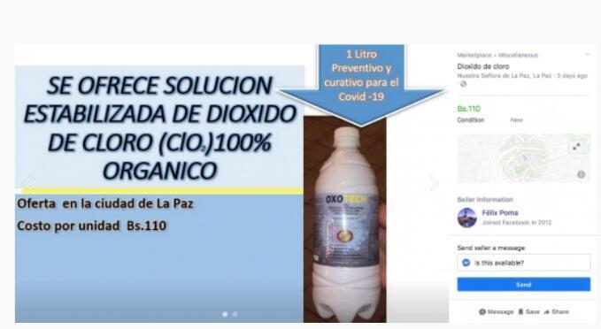 """Un litro preventivo y curativo para el Covid-19"""", indica este anuncio del """"Marketplace"""" de Facebook, que propone dióxido de cloro en Bolivia."""