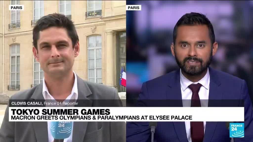 2021-09-13 17:10 Tokyo summer games: Macron greets olympians & paralympians at Elysée Palace