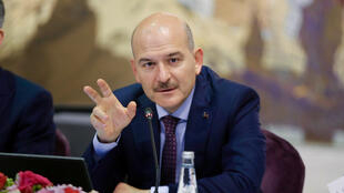 File photo of Turkish Interior Minister Suleyman Soylu at a press conference in Istanbul in August 2019.