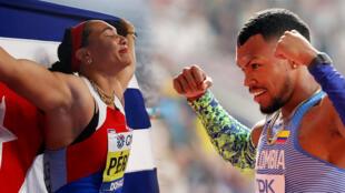 La cubana Yaimé Pérez y el colombiano Anthony Zambrano consigueron oro y plata en el Mundial de atletismo de Doha.