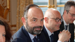French Prime Minister Edouard Philippe attends a meeting with labour union leaders at the Hotel Matignon in Paris on January 10, 2020.