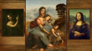 Tres pinturas de Leonardo da Vinci: San Juan Bautista, la Virgen y el Niño con Santa Ana y la Mona Lisa.