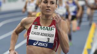 Ophélie Claude-Boxberger lors du 1500 m aux Championnats de France, à Miramas, le 17 février 2019