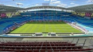 Germany's Bundesliga football league kicked off on Saturday in front of empty stadiums