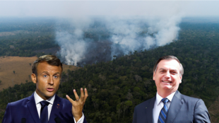 El presidente francés, Emmanuel Macron, y el presidente de Brasil, Jair Bolsonaro, enfrentados a raíz de los incendios en la Amazonía.