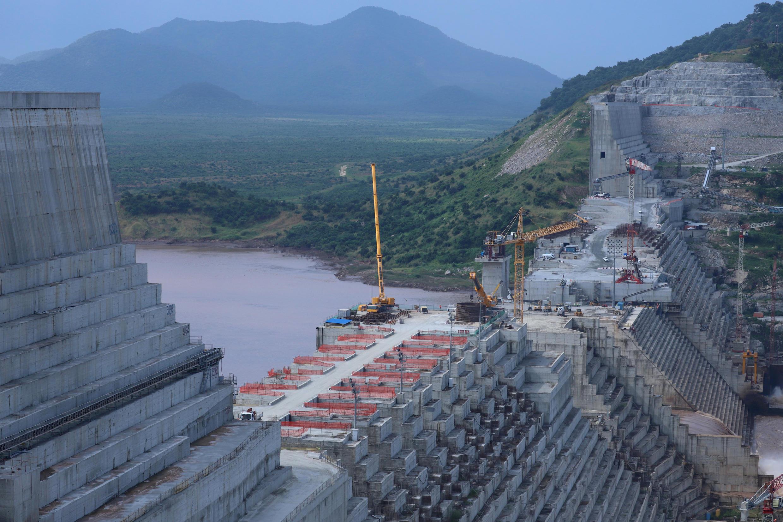 سد النهضة في إثيوبيا أثناء خضوعه لعملية البناء، منطقة بينيشانغول جوموز، إثيوبيا، 26 سبتمبر/ أيلول 2019.