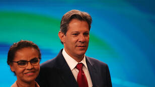 Marina Silva y Fernando Haddad asisten a un debate, en Río de Janeiro, Brasil, el 4 de octubre de 2018.