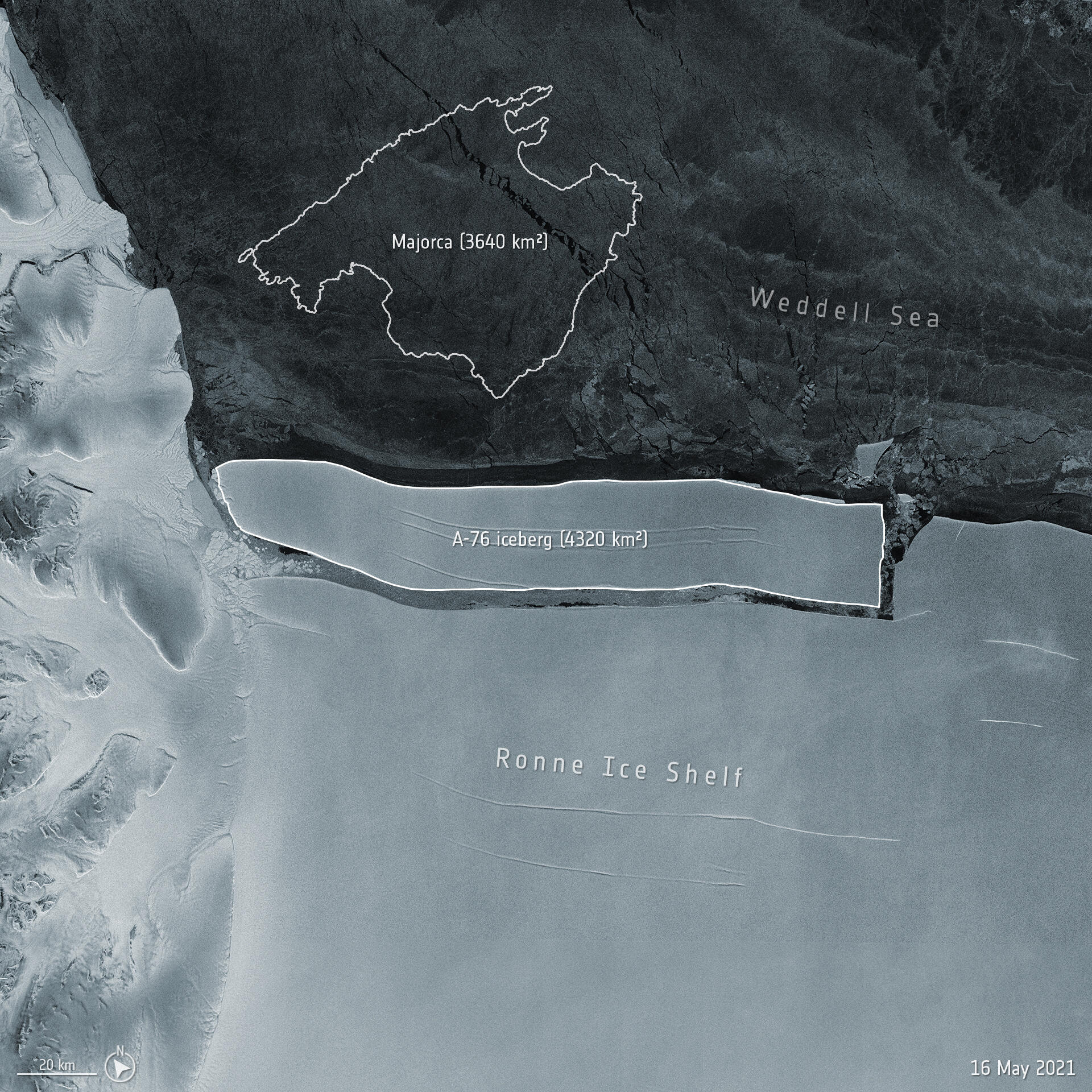 The iceberg, dubbed A-76, measures around 4320 square kilometres in size – currently making it the largest berg in the world