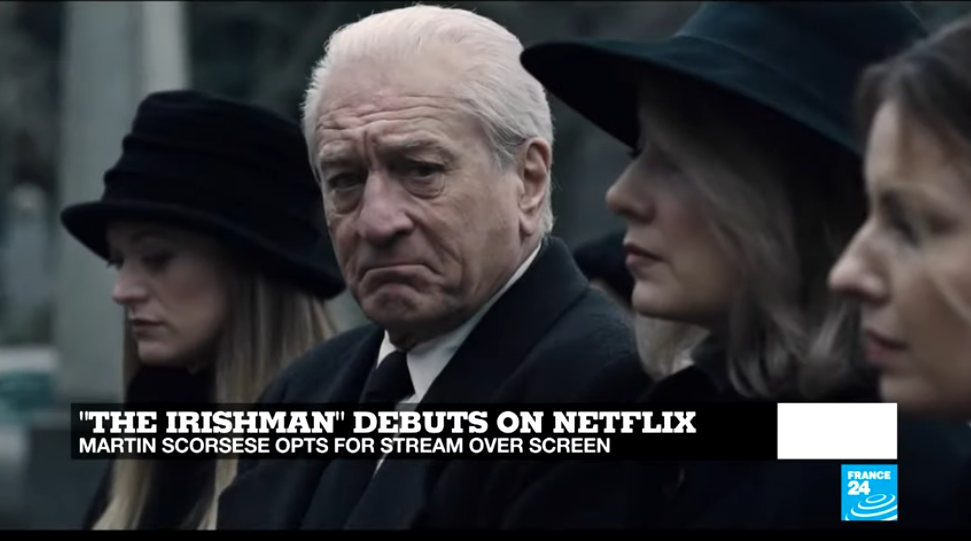 Screengrab from The Irishman review on Encore.