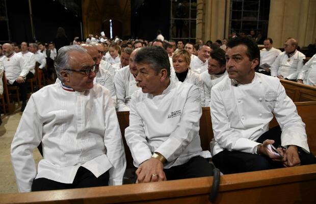 From left to right: French chefs Alain Ducasse, Regis Marcon and Yannick Alleno attended the funeral