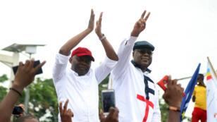 Les opposants congolais Félix Tshisekedi et Vital Kamerhe à leur retour à Kinshasa, mardi 27 novembre.