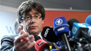 L'ex-président catalan Carles Puigdemont a donné une conférence de presse à Berlin, le 7 avril 2018.