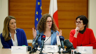 Chair of the European Parliament delegation Sophie in't Veld (M) and European MPs Roberta Metsola (L) and Birgit Sippel (R) attend a news conference following a two-day fact-finding mission on the political situation in Malta, in Valletta, Malta on December 4, 2019.