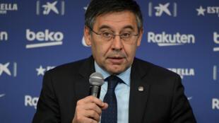 Le président du FC Barcelone Josep Maria Bartomeu lors d'un point presse au siège du club, le 14 janvier 2020