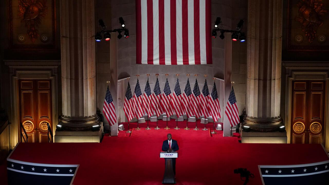 El senador republicano Tim Scott fue la última persona en hablar en el auditorio Mellon en Washington durante la primera jornada de la Convención Republicana, el 24 de agosto de 2020, en la que se oficializa la postulación de Donald Trump como el candidato de ese partido.