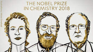 Frances H. Arnold, George P. Smith et Gregory P. Winter ont reçu le prix Nobel de chimie le 3 octobre 2018.