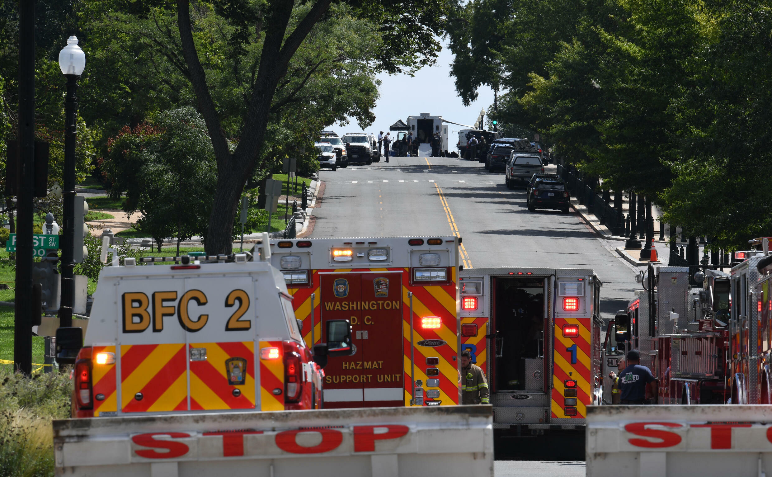 First responders, police and the Federal Bureau of Investigation converged on Capitol Hill to investigate an