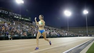 Gabriele Grunewald, who has died from cancer aged 32, waves to the crowd at a 2017 track meeting in Sacramento