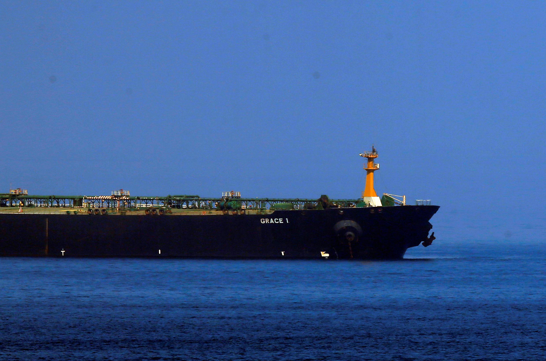 ناقلة النفط الإيرانية غريس 1 المحتجزة في مضيق جبل طارق. 13 آب/أغسطس 2019.