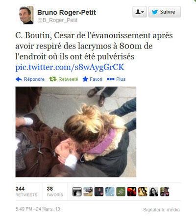 Tweet du journaliste Bruno Roger-Petit accompagné d'une photo de Christine Boutin, visiblement touchée par les gaz lacrymogènes.