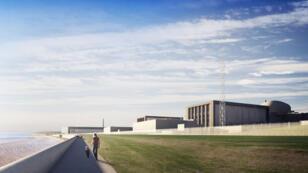 Une modélisation du futur site d'Hinkley Point C, le projet de deux réacteurs nucléaires qu'EDF doit construire dans le sud de l'Angleterre.